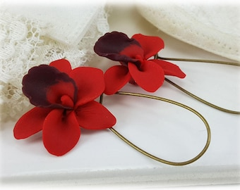 Red Orchid Earrings - Red Orchid Drop or Dangle Earrings, Red Orchid Jewelry