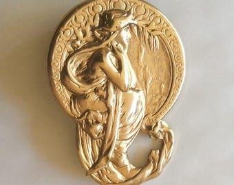 Art nouveau Alphonse Mucha lady lapel brooch pin vintage finding handmade raw brass