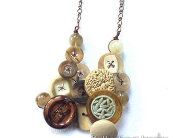 Chunky Woodland Necklace with Brown, Tan, Off-White Vintage Buttons