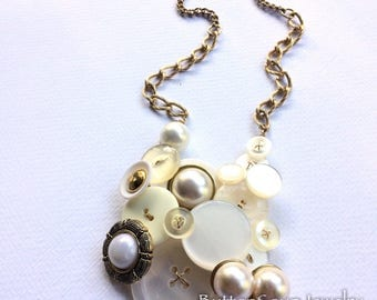 Chunky Vintage Button Statement Necklace - Brassy Gold and White Pearl Buttons