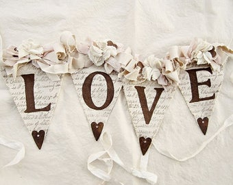 Wedding Banner, Rustic Chic Wedding Decor, Vintage  Wedding Decor, Bridal Shower Decor, Wedding Shower Decor, Shabby Chic Wedding Decor