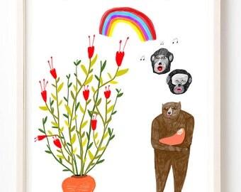 Random Art, Humor, Sing, Writing, Quirky, Music, Books, Colorful, Bear, Baby, Rainbow, We Sang in Harmony Most Nights- Fine Art Print