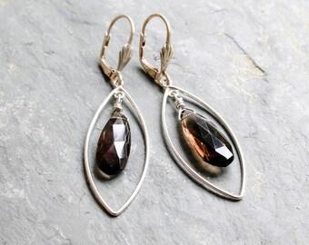 Smoky Quartz Silver Drop Earrings  Faceted Gemstone Sterling Silver Dangle Earrings  Smokey Quartz Long Silver Earrings Gift for Woman