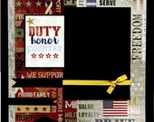 12x12 Premade Military Scrapbook Page - Duty Honor Country