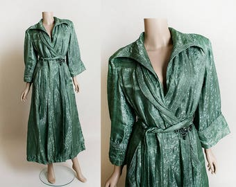 Vintage Asian Style Robe- Forest Green Dyed Silk Floral Brocade Lounge Chinese Jacket Robe