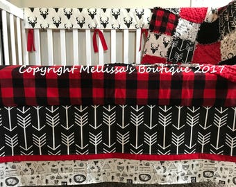 Rustic Deer Buffalo Plaid & Arrows Red Black and White Baby Nursery Crib Bedding Set made with Designer Fabrics MADE To ORDER