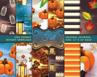 Fall Digital Paper, Thanksgiving Seamless Patterns Download