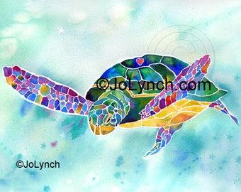Sea Turtle Print of Watercolor Painting - Turtle Art Prints - Sea Turtle Gifts - Artist JoLynch