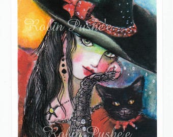 Festive Witch and Kitty, 5x7 Art Print