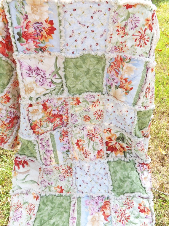 Ready to Ship Lap Rag Quilt made with Pretty Mauve and Melon Floral Fabrics
