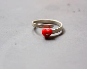 Tiny Heart Sterling Silver Adjustable Ring, Love Ring, Heart Ring, Rustic Surface Ring, Contemporary  Plexi Glass Ring
