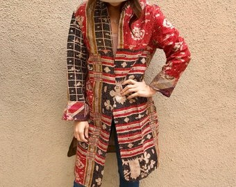 Red print silk kantha reversible duster/kimono