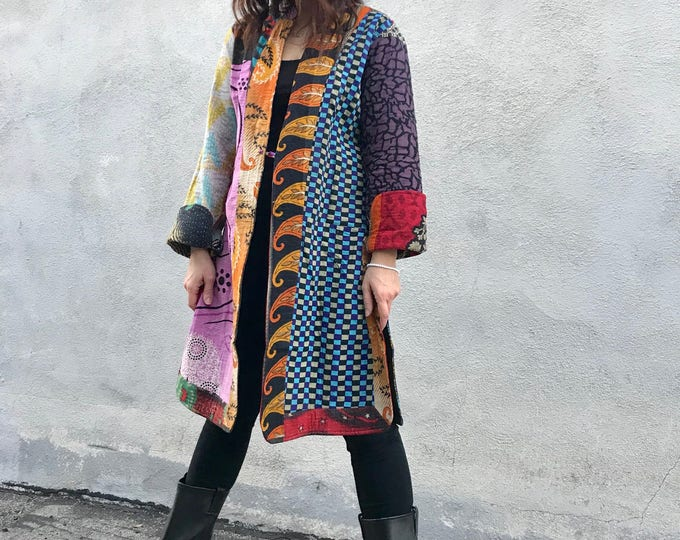 Stunning cotton kantha reversible duster