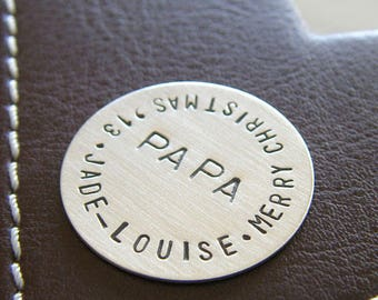 Custom Hand Stamped Golf Marker - Personalized Sterling Silver Keepsake Token - Perfect Gift for Father