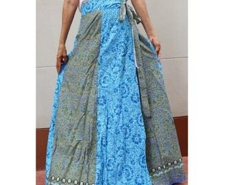 Handmade 8 Pieces Green & Blue floral Thai batik   Sarong patchwork long comfortable  wear wrap skirt fit all size (BT18)