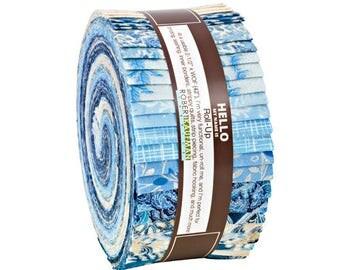 "Robert Kaufman Holiday Flourish Blue Metallic Accents Roll Up 2.5"" Precut Fabric Quilting Strips Jelly Roll Peggy Toole RU-653-40"