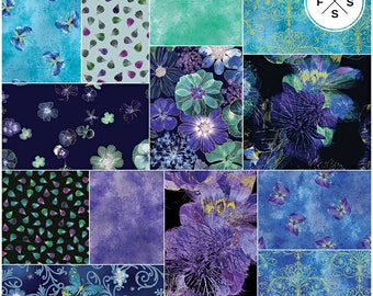 "Benartex Floral Impressions Turquoise Blue Precut 10"" Fabric Squares Quilting Cotton Layer Cake"
