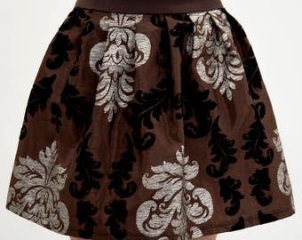 Brown steampunk skirt, Baroque steampunk skirt, Floral skirt, lolita skirt, brown cosplay skirt, Silver and black velvet ornamental skirt