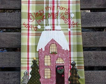 Bless This Home Tea Towel l Applique Holiday Kitchen Towel | Hand Embroidery Blessings | Christmas Kitchen Decor | Plaid Towel | Gift Idea