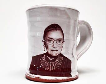 Handmade mug featuring Ruth Bader Ginsburg