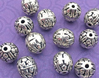 6 Round Oval Beads, 10mm Silver Plated Silver Tone Bali Style Spacer Beads Heavy Weight for Chunky DIY Jewelry - TS786B