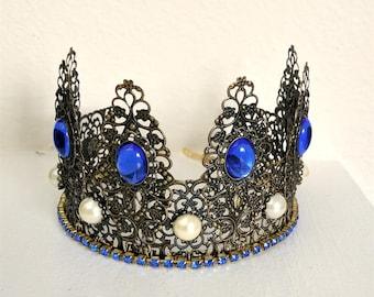 Renaissance Tiara, Crown, Medieval, Renaissance Jewelry, Tudor, Headpiece, Headdress, Renaissance Crown, Antiqued Brass & Blue, Ready 2 Ship