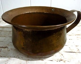 Antique Chamber Pot - Copper Chamber Pot - Vintage Chamber Pot - Copper Pot - Vanity Decor - Vintage Pot - Vintage Copper - Rustic Decor