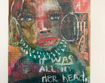 Hidden Figures, Outsider, Mixed Media Painting, Folk Art, Abstract, Collage, Mystele
