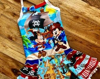 Disney pirate halter dress ready to ship handmade size 8-10 cruise vacation beach