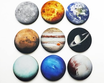 Planets Coasters Set of Nine astronomy science space gift home dorm decor teacher student earth solar system geekery stocking stuffer nerd