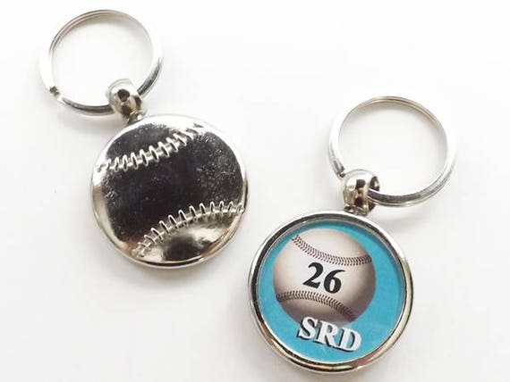 Baseball Keychain Sports Gift coach teacher initials number, custom personalized logo photo available, school mom dad grandpa grandfather