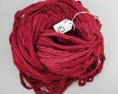 Chiffon Sari ribbon, red crimson chiffon ribbon, crimson ribbon, red chiffon ribbon, weaving supply, jewelry supply, spinning supply