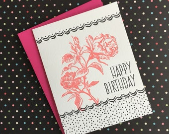 Happy Birthday Rose/Dots Letterpress Card
