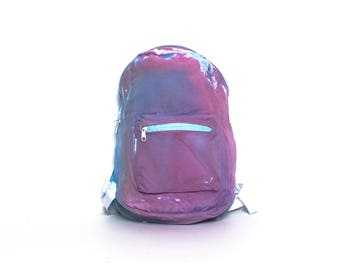 GRUNGE blue pink TIEDYE canvas 80s 90s BACKPACK unisex