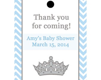 24 Personalized Baby Shower Favor Tags  - Little Prince Baby Shower