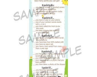 24 Baby Shower Game Cards  Whats In Your Cell Phone Game  -Down On The Farm Baby Shower  - Barnyard Baby Shower - Phone Game