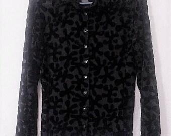 Vintage 90s Black Velvet Burn Out Long Sleeve Shirt