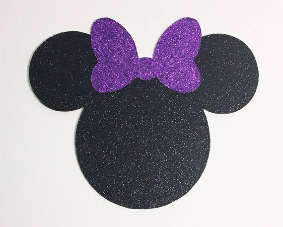 Disney Minnie Mouse Large 4 Inch Black Glitter Cardstock Purple Glitter Bow Die Cut Scrapbook Art Craft Birthday Party Decor Invite