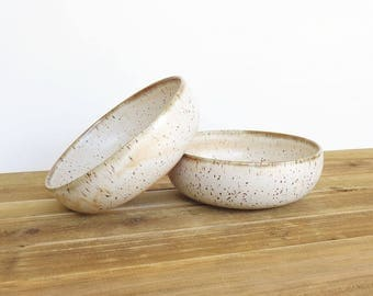 Rustic Pottery Stoneware Soup Bowls in Satin Oatmeal Glaze - Set of 2
