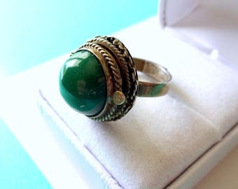 Vintage Taxco Jade and Sterling Silver Poison Ring Adjustable