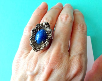 Vintage Lapis and Sterling Brutalist Ring