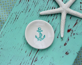 Boat Anchor in Aqua Blue on Mini Dish, Nautical Anchor Design on Ring Dish, Ring Dish with Anchor
