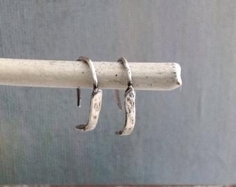 Sterling Silver Earrings - Everyday Casual Silver Earrings - Brushed Silver Earrings - Hammered Silver Earrings - Simple Curve Earrings