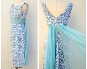 30% MOVING SALE 50s 60s bridesmaid dress / vintage cocktail dress / baby blue dress / white lace overlay dress / 24 waist, xs xxs