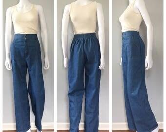 Vintage 70s high waist jeans wide leg jeans small 28 waist Tall jeans Denim