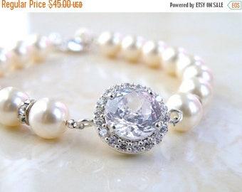 Summer Sale Bridal CZ Bracelet Ivory Swarovki Pearl Sterling Silver CNB3B