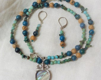 Abalone Shell Apple Turquoise Necklace