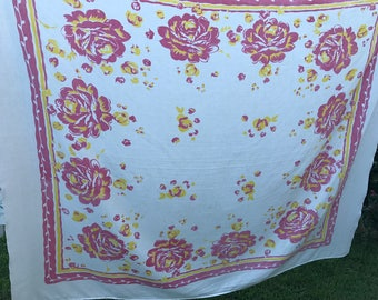Vintage Pink and Yellow Floral Print Tablecloth