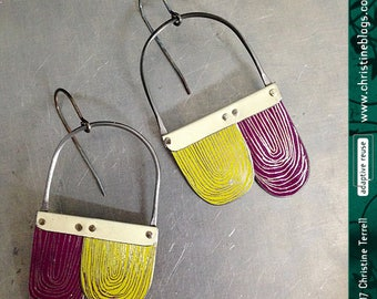 Grape & Citron Etched Arches--Upcycled Tin Earrings
