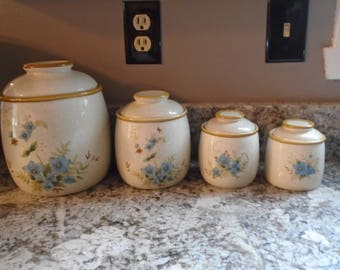 Vintage Mikasa Day Dreams Garden Club EC416 4 piece canister set, Discontinued Mikase blue flowers on tan canister set, ceramic canister set